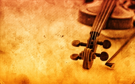 Classic violin on grunge paper texture  Music education concept with copy space