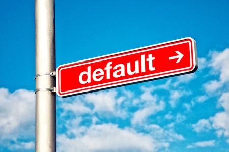 Par défaut, enseignes directionnelles Red plaque de rue avec le titre DEFAULT Banque d'images