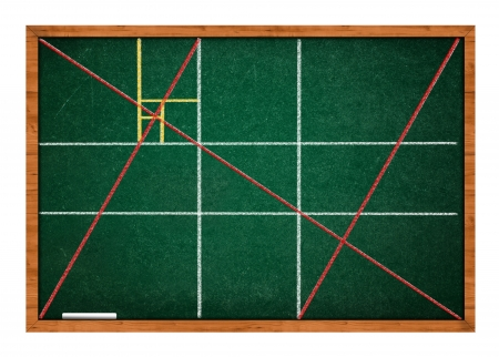 Golden ratio green chalkboard with wooden frame. Stock Photo