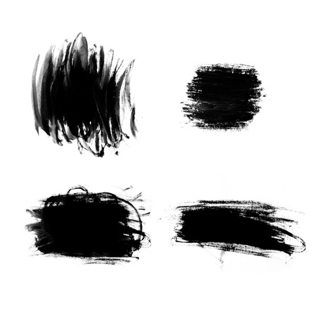 paint strokes: Abstract paint brush strokes. Black brush strokes over textured white paper background.
