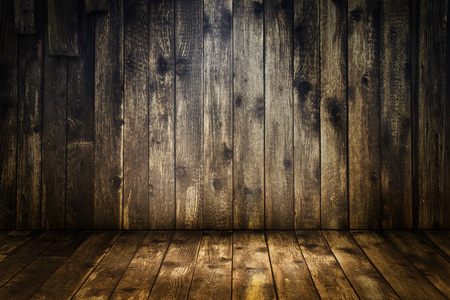 placement: Vintage wooden room interior for product placement.
