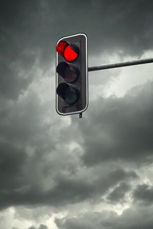red traffic light: Stop light, the red traffic light on a cloudy day