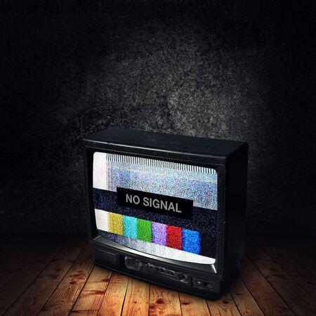 No signal on vintage TV device in dark room