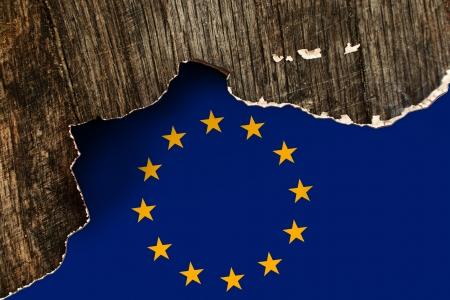 crumpled paper texture: European union flag on Crumpled paper texture  Old recycled paper background  Stock Photo