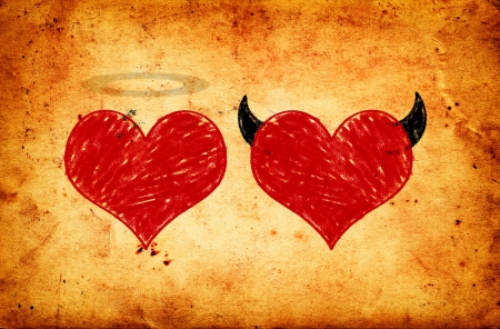 bad angel: Angel and devil in love, heart drawings on grunge paper