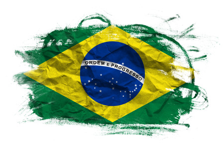 green flag: Brazil flag. Brasil flag over grunge texture Stock Photo