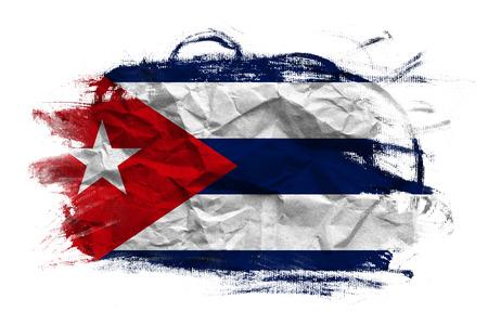 crumpled paper texture: Grunge Cuban flag on Crumpled paper texture. Old recycled paper background.