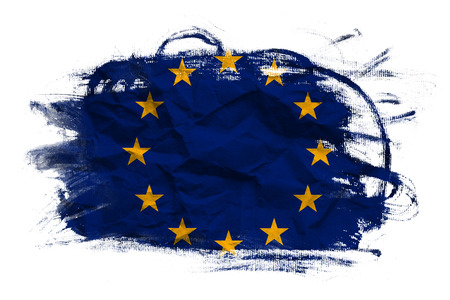 crumpled paper texture: European union flag on Crumpled paper texture. Old recycled paper background.