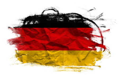 crumpled paper texture: Germany flag on Crumpled paper texture. Old recycled paper background.