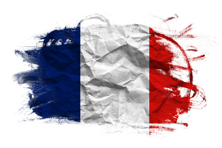 crumpled paper texture: France flag on Crumpled paper texture. Old recycled paper background.