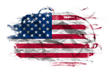 crumpled paper texture: USA flag on Crumpled paper texture. Old recycled paper background. Stock Photo