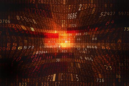 encode: Cyber space with hexadecimal code as digital Stock Photo