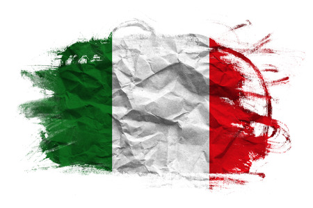 bandera italiana: Bandera de Italia en Textura de papel arrugada vieja reciclada Foto de archivo