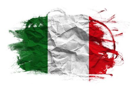 flaga włoch: Flaga Włochy na zmięty papier z recyklingu starych tekstury