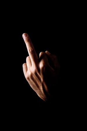 Human Hand Gesturing With Middle Finger Stock Photo Picture
