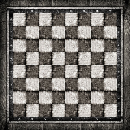 chessboard: Old wooden chess board in black and white.