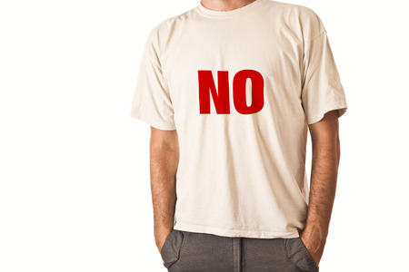 negatively: Slim tall man posing in white t-shirt with title NO