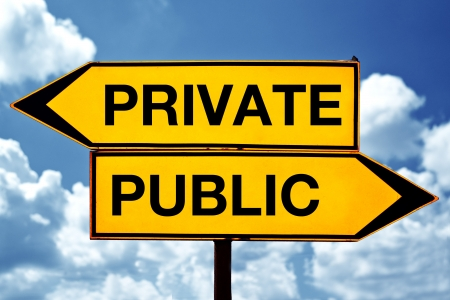 private domain: Private or public, opposite signs  Two opposite signs against blue sky background
