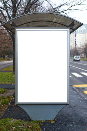 bus station: Bus station with blank billboard, outdoor advertising  Stock Photo