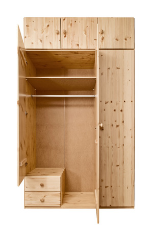Simple open wooden wardrobe made of beech wood. Isolated Wooden cabinet.