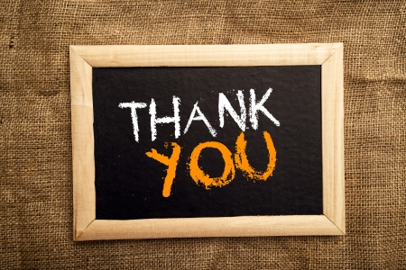 thank you note: Thank you note on black message board