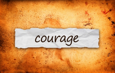 braveness: Courage title on piece of crumpled old  paper Stock Photo