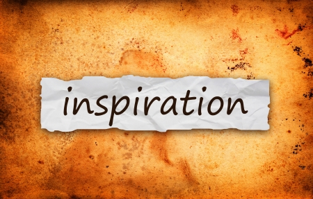 Inspiration title on piece of crumpled old  paper Stock Photo