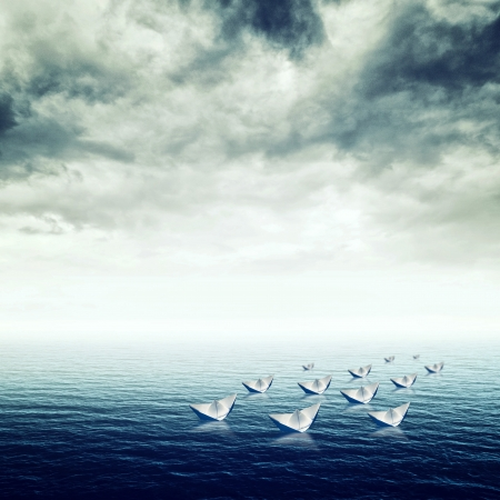 suspense: Blue sea with heavy storm clouds, conceptual image of uncertain future Stock Photo