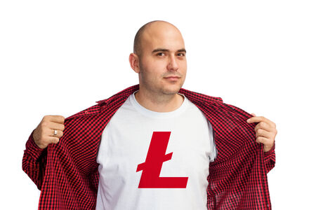 Man showing Litcoin currency symbol printed on his shirt. Bitcoin is virtual electronic money. photo