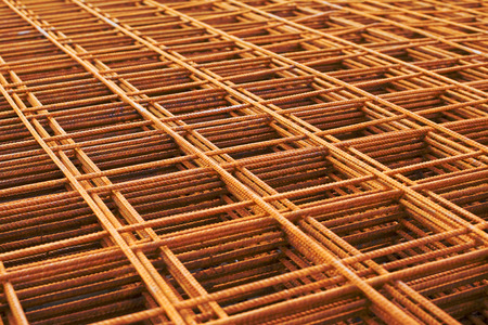 Reinforcing steel mesh, close up image of construction material