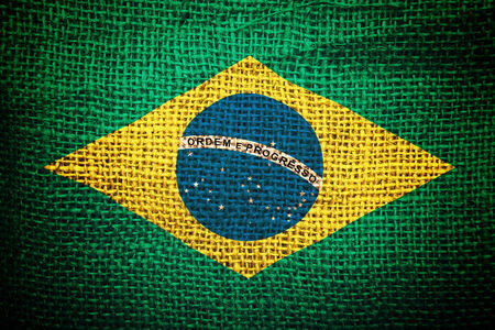 coffee sack: Brazil flag on coffee sack texture