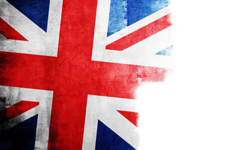 fray: Grunge flag of Great Britain with white copy space