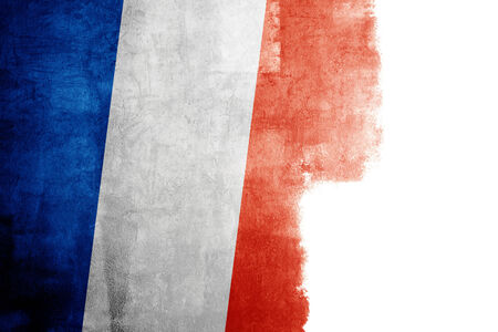 redecorate: Grunge flag of France with white copy space Stock Photo