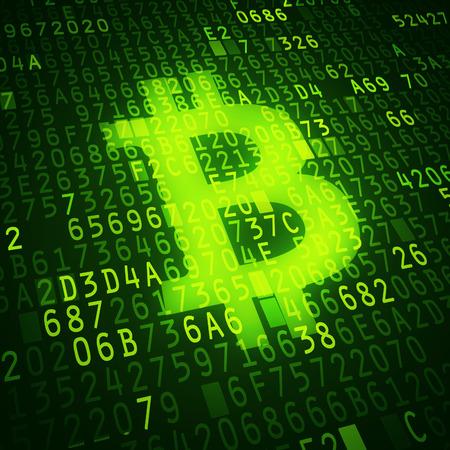 Bit coin symbol as virtual currency symbol  Conceptual image