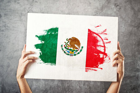 mexican flag: Mexico flag  Man holding banner with Mexican Flag  Supporting national team, patriotism concept  Stock Photo