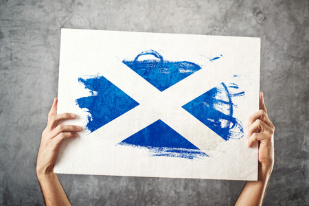 scotish: Scotland flag  Man holding banner with Scotish Flag  Supporting national team, patriotism concept  Stock Photo
