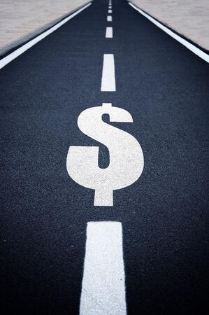 us dollar: Dollar symbol on endless road, financial background.