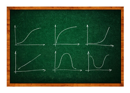 evaluate: Diagrams and Charts and other infographics drawings on chalkboard as design elements collection. Stock Photo