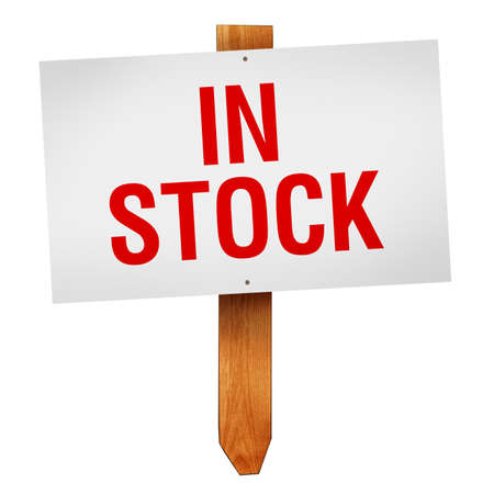 procurement: In stock sign on wooden post isolated isolated on white  Stock Photo