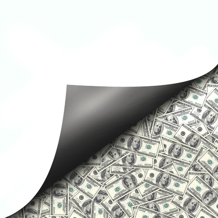 hidden taxes: Hundred dollar bills as background behind curled page Stock Photo