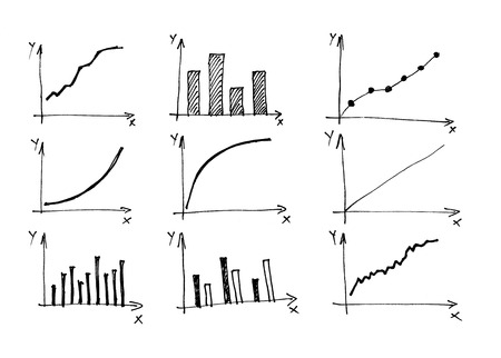 calculation: Diagrams and Charts and other infographics drawings as design elements collection. Stock Photo