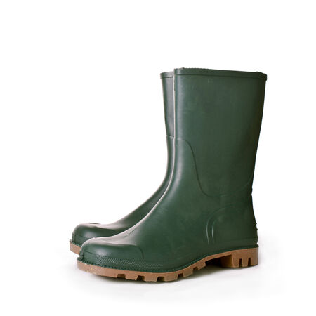 wellington: Green ruber boots on white background. Agricultural working boots for garden.