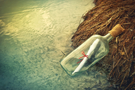Message in a bottle, conceptual image photo