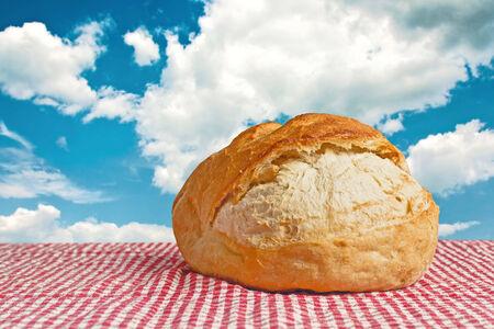 breadloaf: Delicious bread bun on picnic table outdoors.