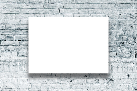 Poster hanging on the art gallery wall. Paper size matches the international A1 format with horizontal orientation. photo