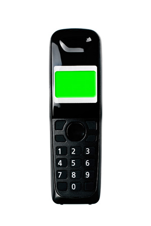 cordless phone: Wireless phone. Cordless phone with green screen display isolated on white background. Stock Photo