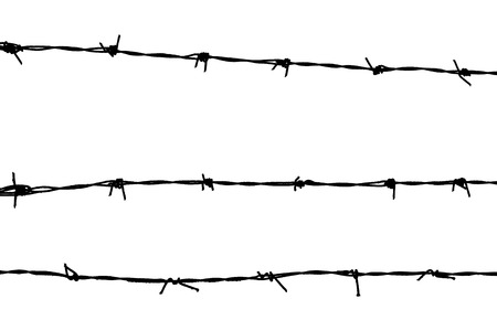 prisoner of war: Silhouetted barbed wire on white background