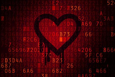 codigo binario: Bug Heartbleed. Contraseña agrietada e Internet problema de seguridad concepto.