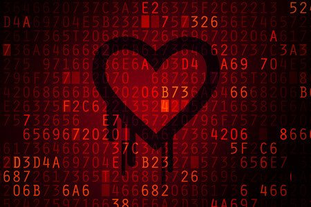 secret code: Heartbleed bug. Cracked Password and internet security issue concept.