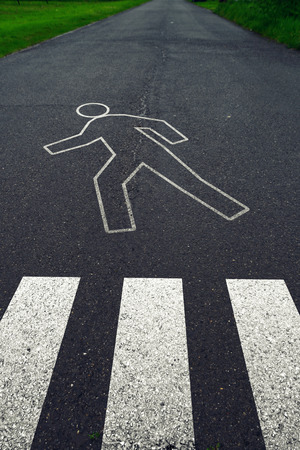 Pedestrian crossing with road markings after traffic accident  Safety on road concept  photo